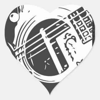 Musikfreund-Gitarren-Spielen Schwarzweiss Herz-Aufkleber