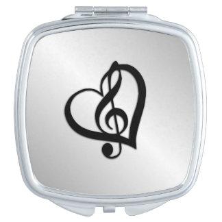 Musikg-Herz auf Silber Taschenspiegel