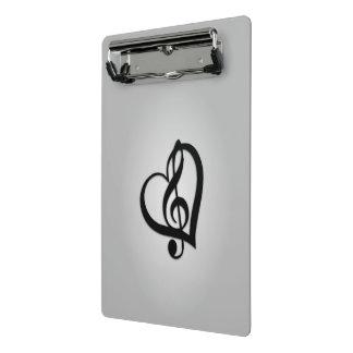 Musikgclef-Herz auf Silber Mini Klemmbrett