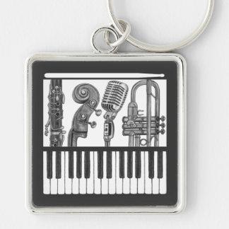 Musikinstrument-Band Schwarzweiss-Keychain Silberfarbener Quadratischer Schlüsselanhänger