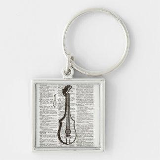 Musikinstrument-Wörterbuch-Kunst Silberfarbener Quadratischer Schlüsselanhänger
