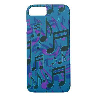 Musiknoten-musikalisches Muster-blaues Grün lila iPhone 7 Hülle
