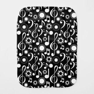 Musiknoten und Clefs - Weiß auf Schwarzem Spucktuch
