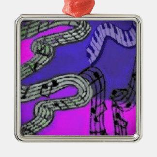 Musiknoten und glänzende Farben schaffen ein Quadratisches Silberfarbenes Ornament