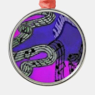 Musiknoten und glänzende Farben schaffen ein Rundes Silberfarbenes Ornament