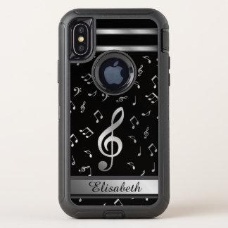 Musiknotensilber und -SCHWARZES OtterBox Defender iPhone X Hülle