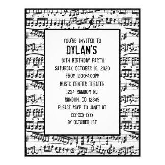 Musiknotenthema-Geburtstags-Party Einladungen Flyerbedruckung