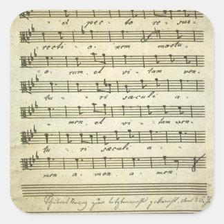 Musique de feuille vintage, illustration musicale sticker carré