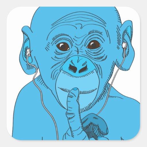 Musique de singe autocollant carré