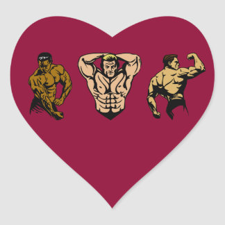 Muskel-Crew - schlagen Sie eine Pose Herz-Aufkleber