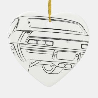 Muskelautozeichnen Keramik Herz-Ornament