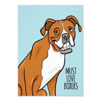 """Muss Liebe-Boxer-"" Cartoon-Boxer-Hund 5"" x 7"" Karte"