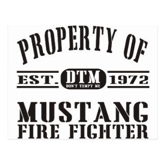 Mustang-Feuerwehrmann Postkarte