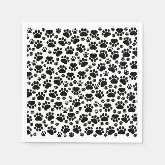 Muster der Tatzen, Hundetatzen, vollzieht - weißes Servietten