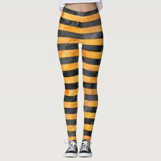 Muster des Halloween-Hexe-Streifen-Orange|Black Leggings