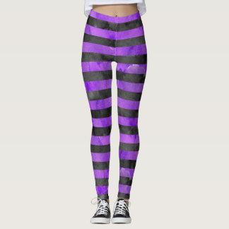 Muster des Halloween-Hexe-Streifen-Purple|Black Leggings