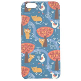 Muster mit niedlichen Katzen und Vögeln Durchsichtige iPhone 6 Plus Hülle