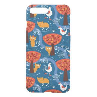 Muster mit niedlichen Katzen und Vögeln iPhone 8 Plus/7 Plus Hülle
