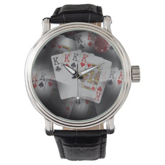 Muster Viererkabel-König-Poker Cards In A, Uhr