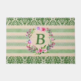 Mutig romantische Blumenmonogramm-Fußmatte (Grün) Türmatte