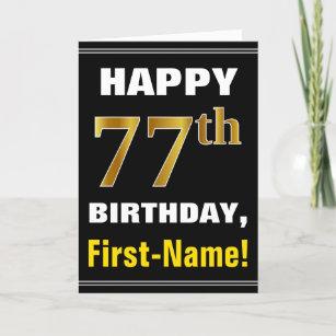 Mutig, schwarz, Imitat-Gold77. Geburtstag mit Karte