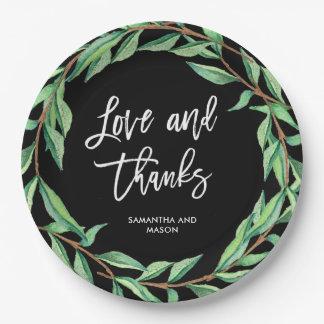 Mutige botanische Liebe und Dank der Hochzeits-| Pappteller