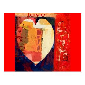 Mutige bunte LIEBE abstrakte Valentines Postkarte