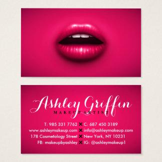 Mutige rosa Neonlippen küssen modernes Visitenkarte