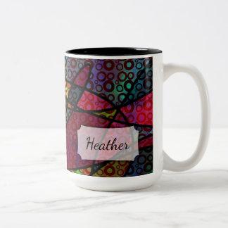 Mutige schwarze Linien u. mehrfarbige, abstrakte Zweifarbige Tasse