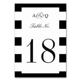 Mutige schwarze Streifen, die Tischnummer Wedding