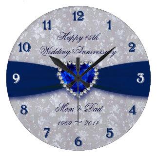Mutiger Hochzeitstag-runde Uhr des Damast-45.