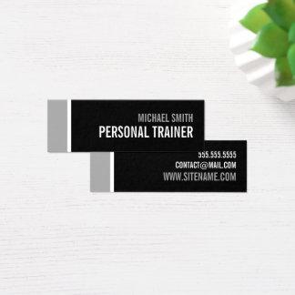 Mutiger schwarzer und grauer persönlicher Trainer Mini Visitenkarte