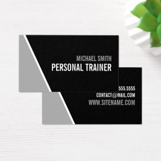 Mutiger schwarzer und grauer persönlicher Trainer Visitenkarte