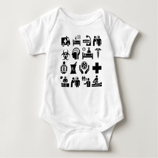 Mutiger Schwarzweiss-Entwurf der medizinischen Baby Strampler