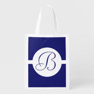 Mutiges blaues Kreis-Monogramm Wiederverwendbare Einkaufstasche