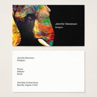 Mutiges buntes Elefant-Kopf-Porträt-Zeichnen Visitenkarte