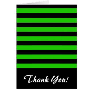 Mutiges grünes und schwarzes Streifen-Muster Karte