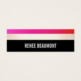 Mutiges modernes Pink und Schwarzes Striped Mini Visitenkarte