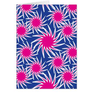 Mutiges Pink-blaues windendes Rad-flippiges Muster Karte