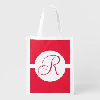 Mutiges rotes Kreis-Monogramm Wiederverwendbare Einkaufstasche