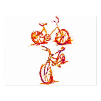 Mutiges rotes radfahrenfahrrad postkarte