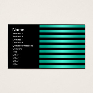 Mutiges schwarzes und aquamarines Streifen-Muster Visitenkarte