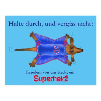 Mutmach-Karte mit süßem Superhelden (Super Dackel) Postkarte