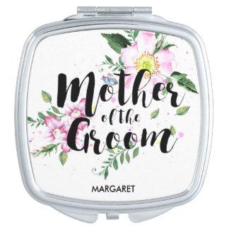 Mutter der Bräutigam-Rosa-BlumenAquarell-Hochzeit Taschenspiegel