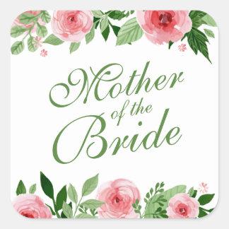Mutter des Braut-Hochzeits-Aufkleber-Siegels Quadratischer Aufkleber