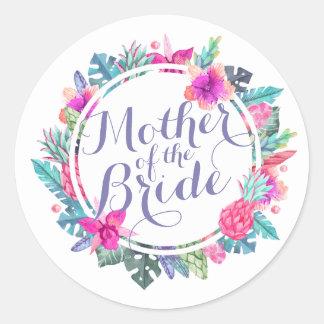 Mutter des Braut-tropischen Runder Aufkleber