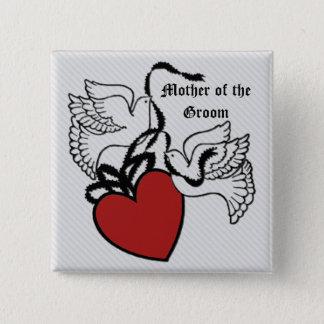 Mutter des Bräutigam-Herz-Tauben-Knopfes Quadratischer Button 5,1 Cm