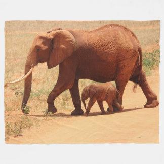 Mutter-Elefant und Baby-Fleece-Decke, groß Fleecedecke