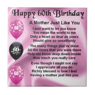 Mutter Gedicht   60. Geburtstag Keramikfliese