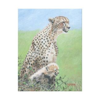 Mutter-Gepard mit Jungem Leinwanddruck